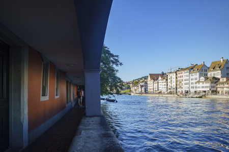 Zurich, JUL 16: Afternoon cityscape with Limmat river on JUL 16, 2017 at the historical Zurich city, Switzerland Editorial