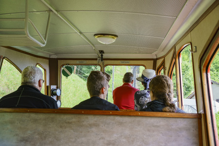 Lucerne, JUL 16: Scenic view from the special train climbing up to the Mount Pilatus on JUL 16, 2017 at Lucerne, Switzerland