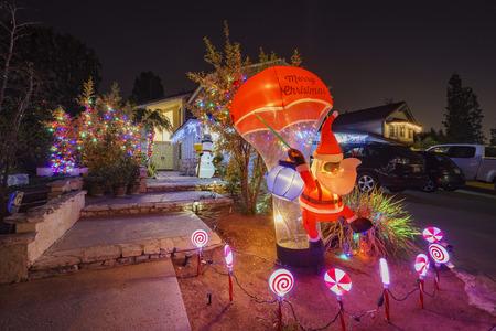 Brea, DEC 8: christmas decoration on DEC 8, 2016 at Brea Neighborhood, Los Angels County, California Editorial