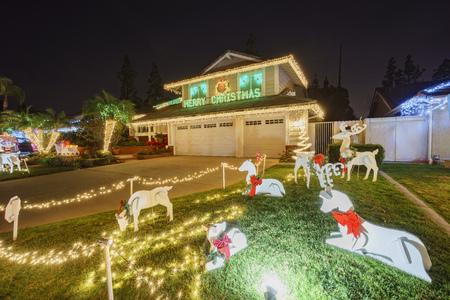 christmas decoration at Brea Neighborhood, Los Angels County, California