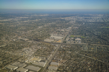 Aerial view of Compton, view from window seat in an airplane, California, U.S.A.