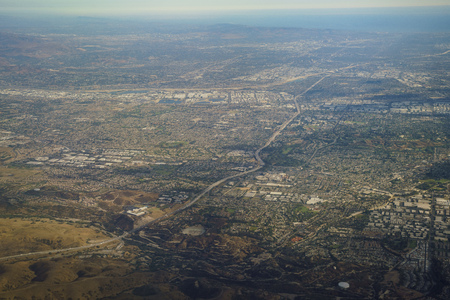 Aerial view of Brea and Fullerton, view from window seat in an airplane at California, U.S.A.