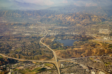 Aerial view of San Dimas and Puddingstone Reservoir