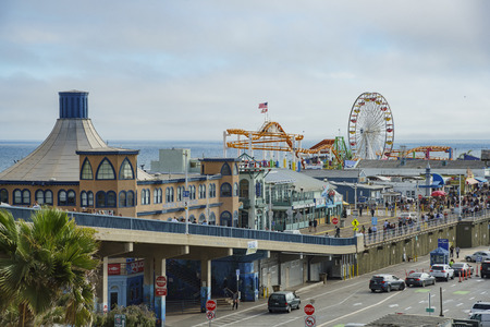 Santa Monica, APR 17: The pier and car parking of Santa Monica Beach at Los Angeles County, California, United States Editorial