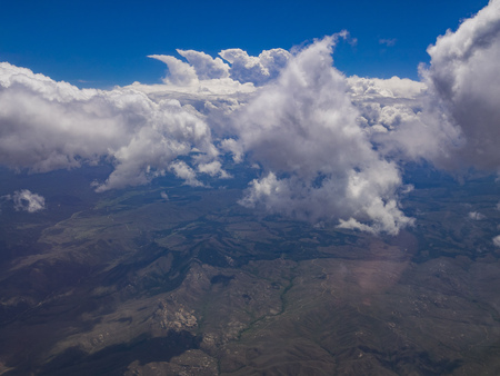 Aerial view of mountain landscape, view from window seat in an airplane, Colorado, U.S.A.