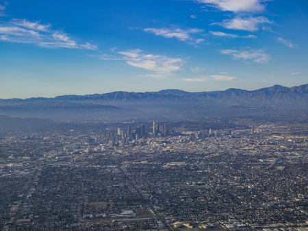 Aerial view of downtown, view from window seat in an airplane, California, U.S.A. Stock Photo