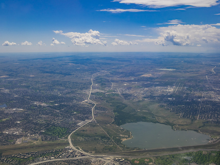 Aerial view of Cherry Creek Reservoir, view from window seat in an airplane, Colorado, U.S.A.