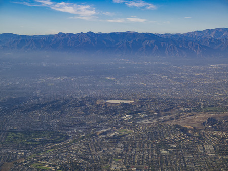 Aerial view of Monterey Park, Rosemead, view from window seat in an airplane, California, U.S.A.
