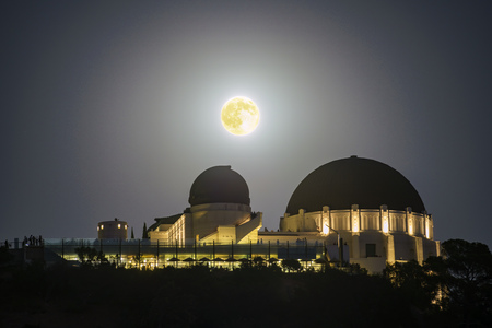 Moon rise over the Griffith Observatory at Los Angeles, California, United States