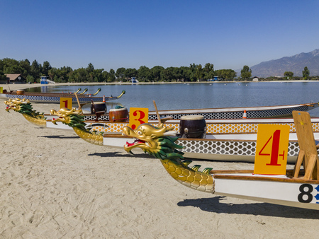 Dragon boat at Santa Fe Dam Recreation Area, Los Angeles County, California, United States