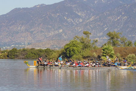 Los Angeles County, OCT 7: Dragon boat festival on OCT 7, 2017 at Santa Fe Dam Recreation Area, Los Angeles County, California, United States