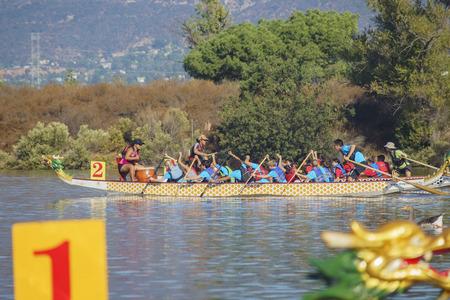 Los Angeles County, OCT 7: Dragon boat festival on OCT 7, 2017 at Santa Fe Dam Recreation Area, Los Angeles County, California, United States