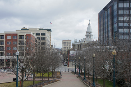 Afternoon exterior view of the Tippecanoe County Courthouse from Lafayette Station, Indiana 스톡 콘텐츠