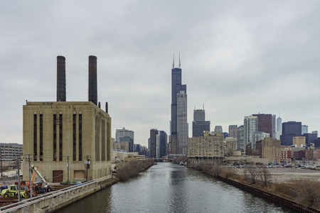 Union Power Station and Willis Tower at Chicago, Illinois, United States
