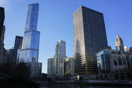 Trump International Hotel and Tower and The Wrigley Building at Chicago, Illinois, United States