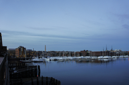 Ocean, ship, port and Boston cityscape at Boston, Massachusetts, United States Stock Photo