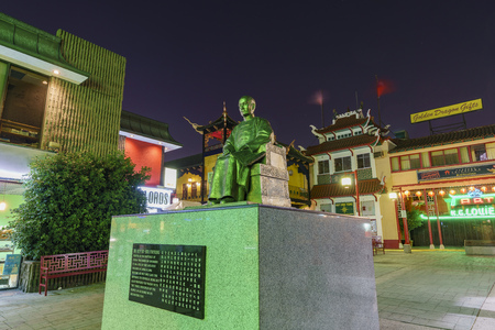 Los Angeles, OCT 19: Night view of Dr. Sun Yat-Sen statue in the Chinatown central plaza on OCT 19, Los Angeles, California, United States Editorial