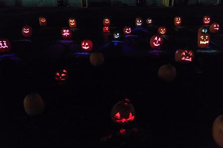 Arcadia, OCT 11: Special Pumpkin craft with light at night on OCT 11, 2015 at Santa Anita Mall, Los Angeles County, California, United States Stock Photo