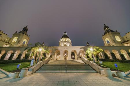 pasadena: Night view of The beautiful Pasadena City Hall at Los Angeles, California, United States Editorial