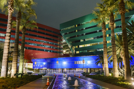 Los Angeles, OCT 31: Night view of the special Pacific Design Center on OCT 31, 2017 at West Hollywood, Los Angeles, California, United States