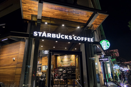 Anaheim, NOV 11: Starbucks Coffee in the famous Downtown Disney District, Disneyland Resort on NOV 11, 2017 at Anaheim, Orange County, California, United States