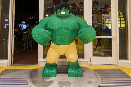 Anaheim, NOV 11: Huge Hulk lego statue in the famous Downtown Disney District, Disneyland Resort on NOV 11, 2017 at Anaheim, Orange County, California, United States Editorial