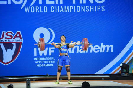 Anaheim, NOV 30: 2017 Solis Arboleda Leidy Yessenia in International Weightlifting Federation World Championships on NOV 30, 2017 at Anaheim Convention Center, Los Angeles County, California, United States Editorial