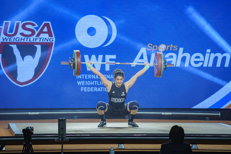 Anaheim, NOV 30: 2017 Torres Wong Anacarmen in International Weightlifting Federation World Championships on NOV 30, 2017 at Anaheim Convention Center, Los Angeles County, California, United States