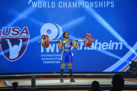 Anaheim, NOV 30: 2017 Mendoza Carabali Miyareth in International Weightlifting Federation World Championships on NOV 30, 2017 at Anaheim Convention Center, Los Angeles County, California, United States