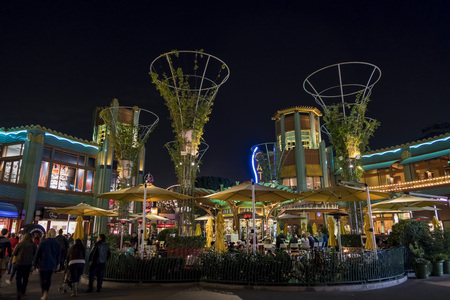Anaheim, NOV 11: Bar in the famous Downtown Disney District, Disneyland Resort on NOV 11, 2017 at Anaheim, Orange County, California, United States