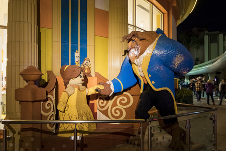 Anaheim, NOV 11: Beauty And The Beast lego statue in the famous Downtown Disney District, Disneyland Resort on NOV 11, 2017 at Anaheim, Orange County, California, United States