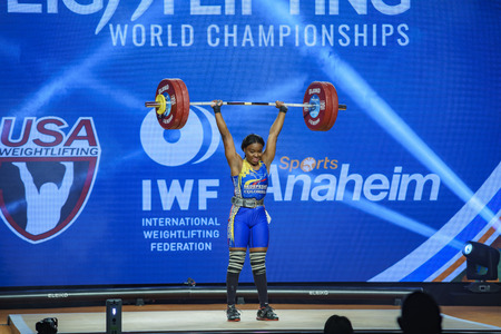Anaheim, NOV 30: 2017 Mendoza Carabali Miyareth in International Weightlifting Federation World Championships on NOV 30, 2017 at Anaheim Convention Center, Los Angeles County, California, United States