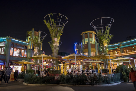 Anaheim, NOV 11: Bar in the famous Downtown Disney District, Disneyland Resort on NOV 11, 2017 at Anaheim, Orange County, California, United States