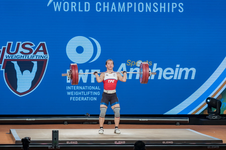 Anaheim, NOV 30: 2017 Kuo Hsing-chun in International Weightlifting Federation World Championships on NOV 30, 2017 at Anaheim Convention Center, Los Angeles County, California, United States