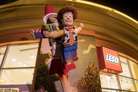 Anaheim, NOV 11: Woody toy story lego statue in the famous Downtown Disney District, Disneyland Resort on NOV 11, 2017 at Anaheim, Orange County, California, United States