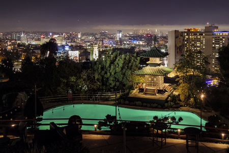 Hollywood, NOV 8: Exterior night view of the garden of the famous Yamashiro Hollywood on NOV 8, 2017 at Hollywood, California, United States