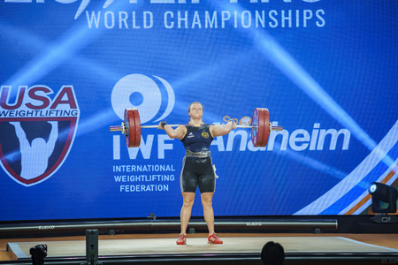Anaheim, NOV 30: 2017 Strenius Patricia Caroline in International Weightlifting Federation World Championships on NOV 30, 2017 at Anaheim Convention Center, Los Angeles County, California, United States