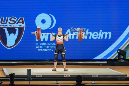 Anaheim, NOV 30: 2017 Andoh Mikiko in International Weightlifting Federation World Championships on NOV 30, 2017 at Anaheim Convention Center, Los Angeles County, California, United States