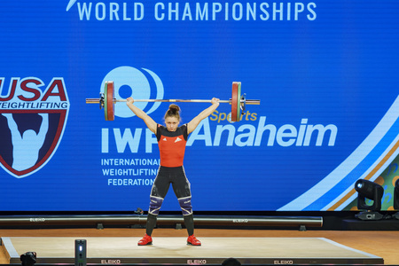 Anaheim, NOV 30: 2017 Koha Rebeka, Latvian in International Weightlifting Federation World Championships on NOV 30, 2017 at Anaheim Convention Center, Los Angeles County, California, United States