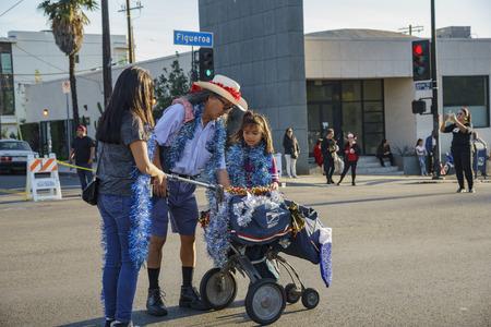 Los Angeles, DEC 3: USPS postman of Highland Park christmas parade on DEC 3, 2017 at Los Angeles, United States