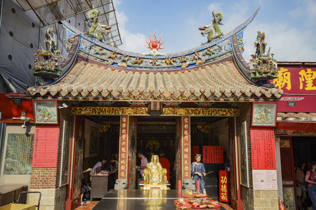 Taipei, AUG 15: Matchmaking temple in Yongle Market on AUG 15, 2017 at Taipei, Taiwan Editorial