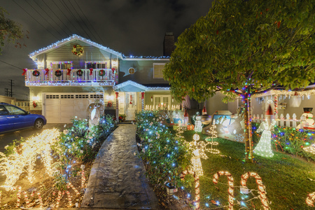 Los Angeles, DEC 20: Night view of beautiful Christmas in Candy Cane Lane on DEC 20, 2017 at Los Angeles, California, United States