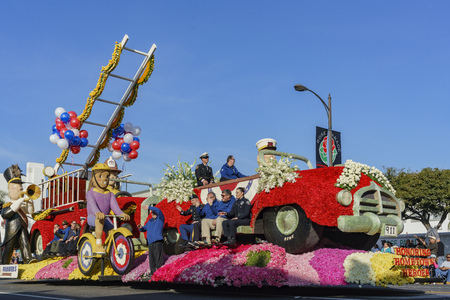 Pasadena,  JAN 1: Fire department style float in the famous Rose Parade - Americas New Year Celebration on JAN 1, 2017 at Pasadena, California, United States