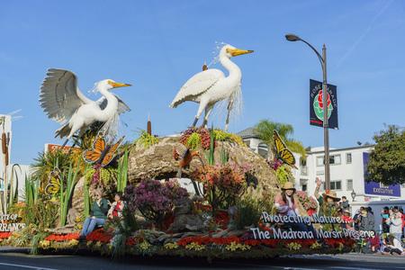 Pasadena,  JAN 1: Mayor Award float in the famous Rose Parade - America's New Year Celebration on JAN 1, 2017 at Pasadena, California, United States