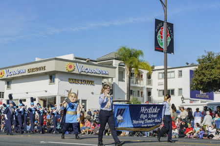 Pasadena,  JAN 1: Westlake High School, Matching Thunder Band show of the superb Tournament of the famous Rose Parade on JAN 1, 2017 at Pasadena, California, United States Editorial