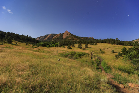 Night view of the famous Flatirons at Boulder, Colorado, United States