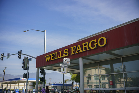 Los Angeles, JAN 7: Exterior view of the famous Wells Fargo Bank on JAN 7, 2018 at Los Angeles, California