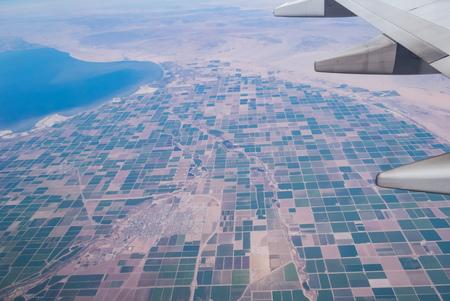 Aerial view of Salton Sea and Brawley rural scene, California