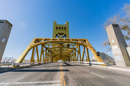 Afternoon view of the famous tower bridge of Sacramento, California Stock Photo