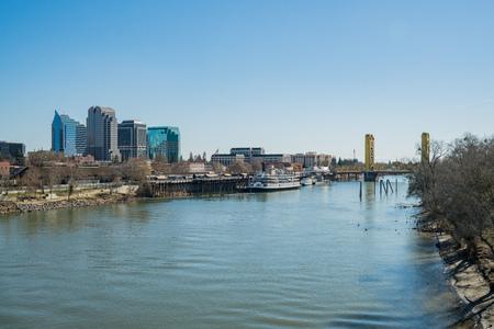 Sacramento, FEB 21: Afternoon view of Sacramento skyline with Sacramento River on FEB 21, 2018 at Sacramento, California